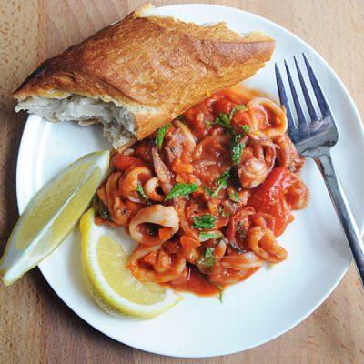 Squid with Tomato and Mint|Squid a la Romana