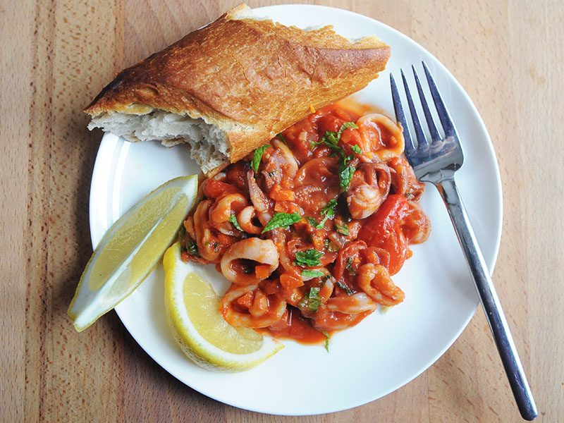 Squid with Tomato and Mint|Squid a la Romana
