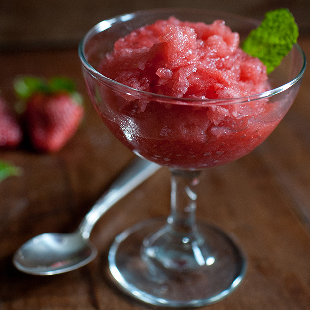 Strawberry-Champagne Granita with Macerated Berries
