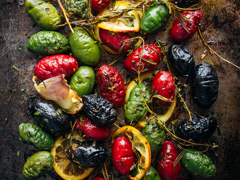 |Roasted Olives with Lemon Garlic and Herbs|Roasted Olives with Lemon Garlic and Herbs|Super Tuscan by Gabriele Corcos and Debi Mazar