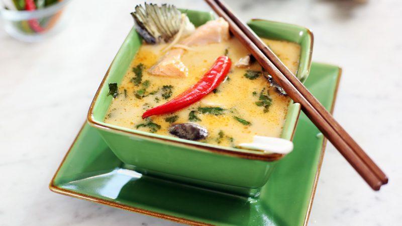 Thai coconut salmon soup