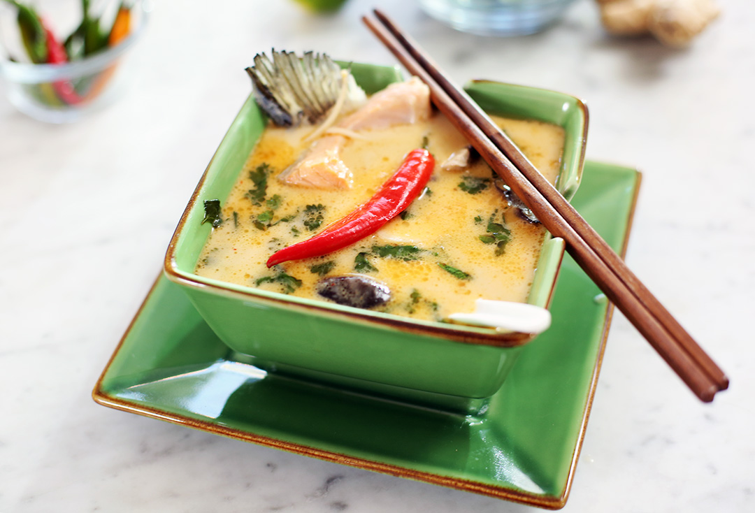 Thai coconut salmon soup