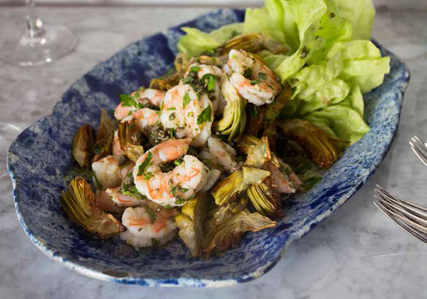 Pickled Shrimp, Crisp Artichokes and Butter Lettuce