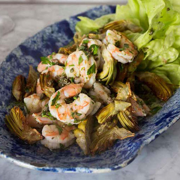 Pickled Shrimp with Crispy Artichokes