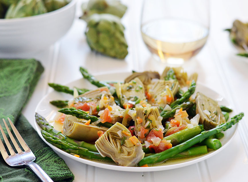 Spring vegetable barigoule