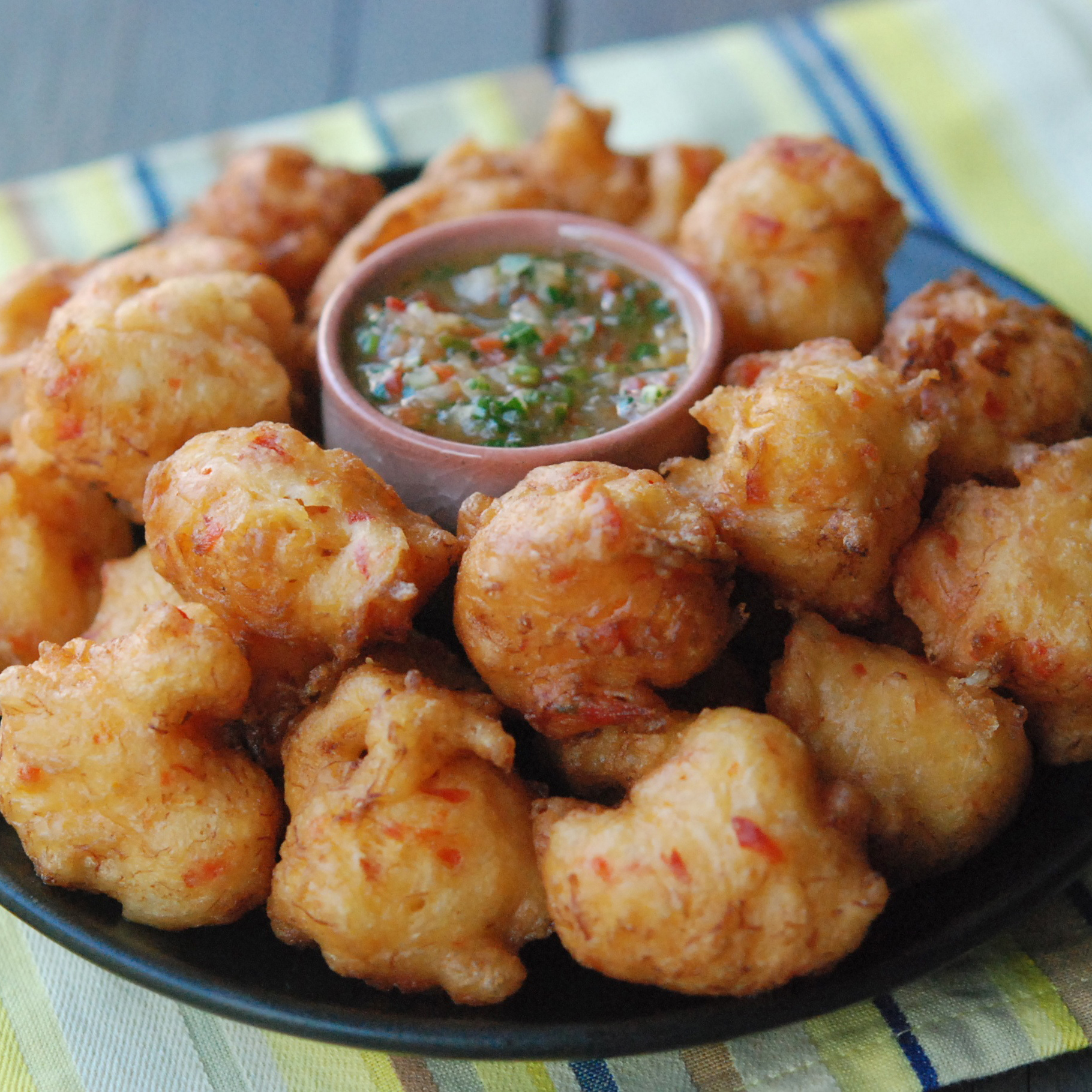 Cod Fritters with Pepper Sauce