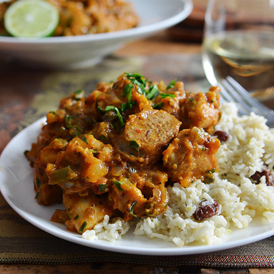 Creole Chicken with Coconut Plantation Rice