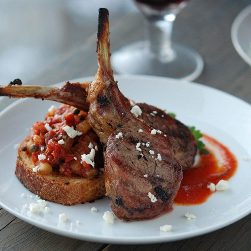 Grilled Lamb with Tomato Vinaigrette & Eggplant Caponata