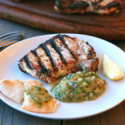 Andrew Zimmern's Recipe for Pork Chops with Eggplant Salad