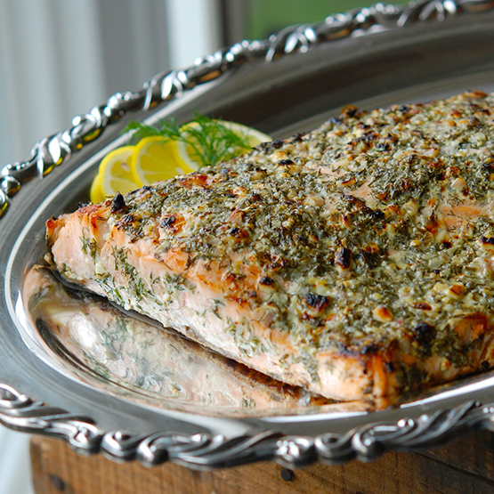 Salmon with Blue Cheese, Lemon & Dill