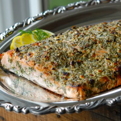 Andrew Zimmern's broiled salmon with blue cheese