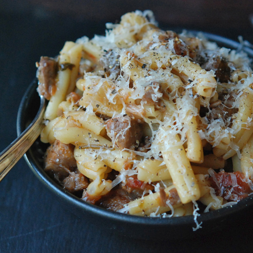 Pasta with Braised Pork, Red Wine & Pancetta